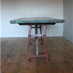 industral red metal legged table